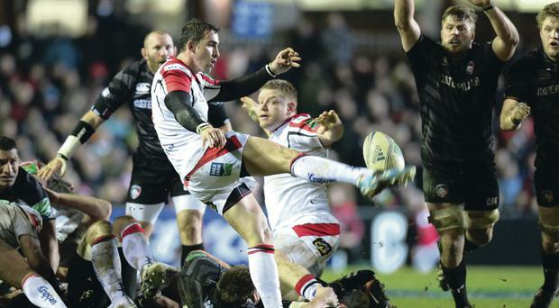 Kicking king: Ruan Pienaar gives the ball and Leicester Tigers a good kicking at Welford Road on Saturday