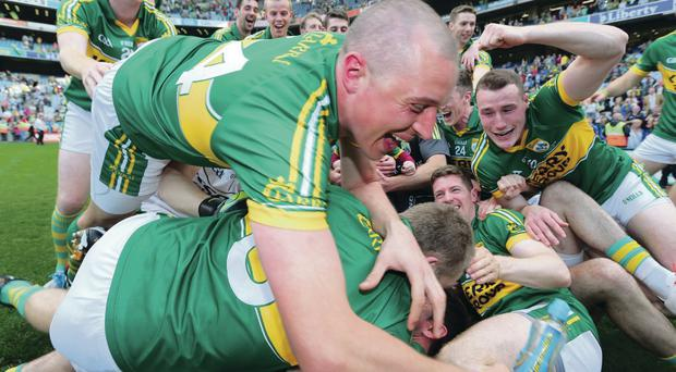 Brolly good: Pandemonium as Kieran Donaghy loses his Joe Brolly Fan Club badge in the middle of the celebrations