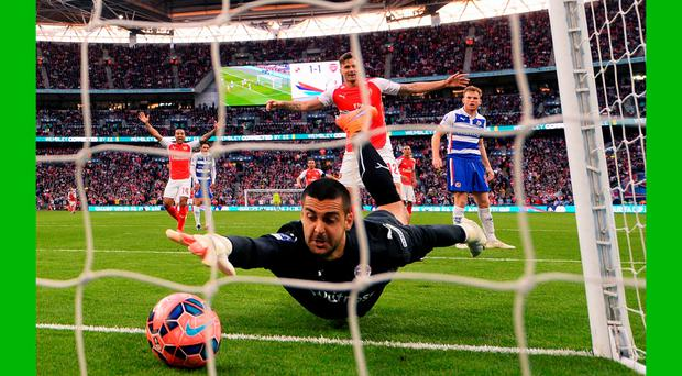 Fed up: If only Adam Federici had Roy Carroll's magic line wand then Reading would still be in the cup
