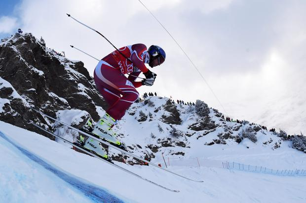 Careful now: Norway's Aksel Lund Svindal goes down a big mountain and not a gritter to be seen
