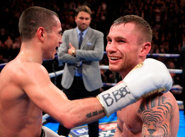 Men at war: it's all peace and love at the completion of the battle of the ages between Scott Quigg and Carl Frampton