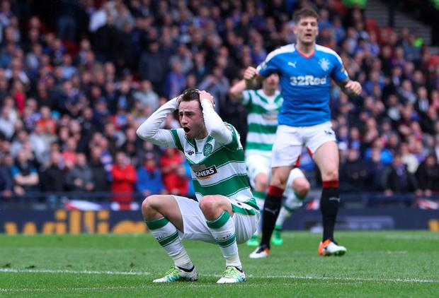 Glasgow miss: Celtic's Patrick Roberts reacts as someone steals his invisible chair