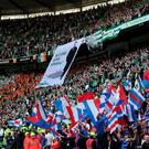 Fans in full flow at the Old Firm match
