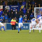 Cling-ing on: Sammy Clingan scores Glenavon's equaliser on Saturday