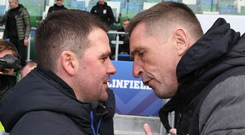 Head-to-head: David Healy and Stephen Baxter are likely to lock horns at the top of the table again