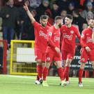 Davy at the double: Larne's Davy McDaid celebrates his brace against Linfield