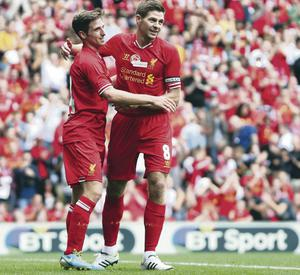 Stevie GBT: One of Liverpool's greatest ever midfielders joins some bloke from Liverpool with a funny walk at Anfield on Saturday