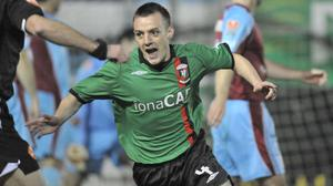Glory night: Jason Hill helps Glentoran see off Drogheda in the Setanta Cup in 2008