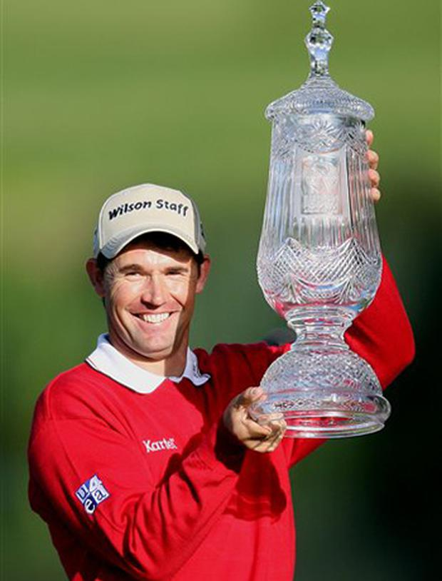 Ireland's Padraig Harrington celebrates after winning the Irish Open in 2007