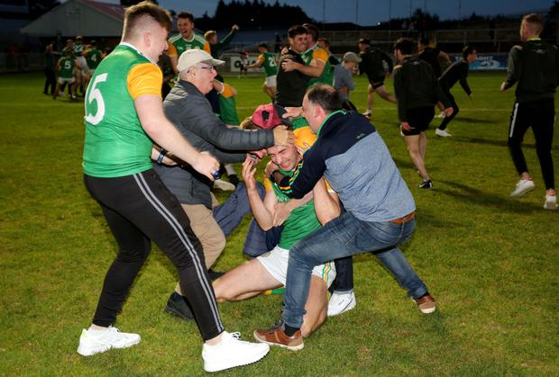 Happier times: Celebrations after Dungannon won the Tyrone Senior Club Championship last year
