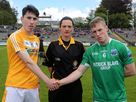 Maggie Farrelly pictured with Conor Small and Cian McManus