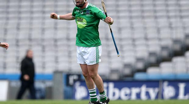 Fermanagh's Brian McLaughlin celebrates a late score