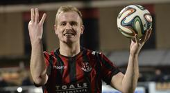 Threesy does it: Jordan Owens after his hat-trick against Portadown in the 6-0 demolition at Seaview in January