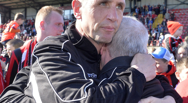 Pure elation: Crusaders' title triumph this season is Stephen Baxter's greatest Irish League achievement