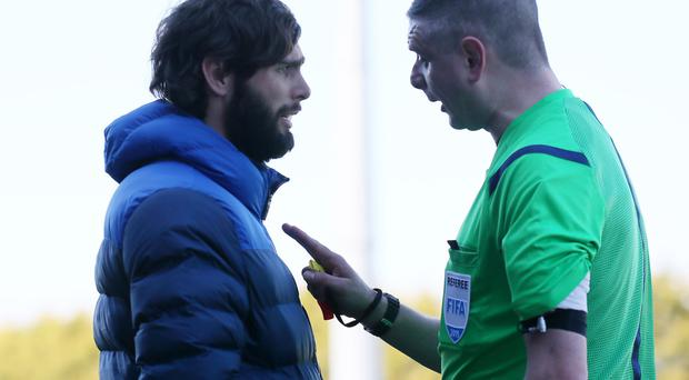 Centre ot attention: Glenavon boss Gary Hamilton has words with referee Raymond Crangle
