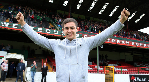 Climbing the ladder: Jordan Stewart has got his big move to Swindon Town, following in the footsteps of Liam Boyce who went to Ross County, Rory Donnelly, who is now at Gillingham, and Joe Gormley, now at Peterborough United