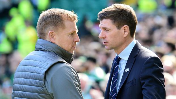 Old and infirm: Celtic boss Neil Lennon with Rangers counterpart Steven Gerrard