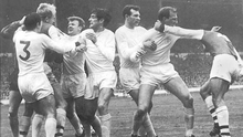 Fighting for the title: Terry Cooper, Billy Bremner, Norman Hunter, Paul Reaney and Jack Charlton get stuck in for Leeds