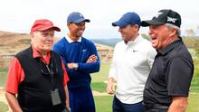 Odd man out: Rory McIlroy with the three surviving 'Career Grand Slam' winners Jack Nicklaus (left), Tiger Woods and Gary Player