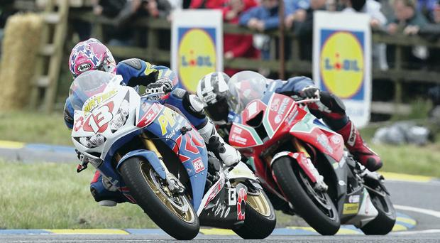 Close call: Lee Johnston has edge over Michael Dunlop in Ulster Grand Prix Superstock