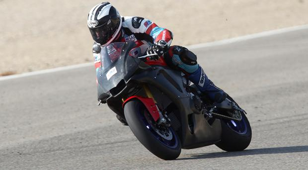 Put to the test: Michael Dunlop gets to grips with the new Milwaukee R1 Yamaha at Alcarras