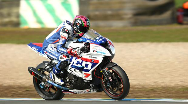 High hopes: Michael Laverty on board the factory Tyco BMW Motorrad S1000RR for the BSB Championship this season