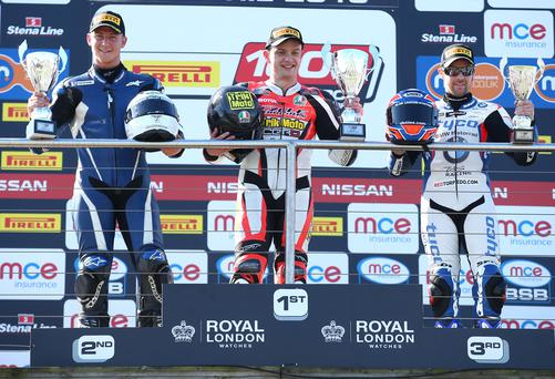 First prize: Hudson Kennaugh on the British championship podium with local riders Alastair Seeley and Josh Elliott