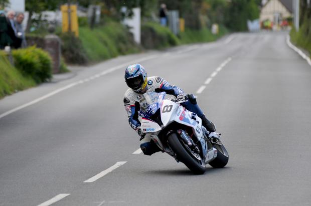 Main man: Guy Martin during Superbike practice on the Isle of Man earlier this week