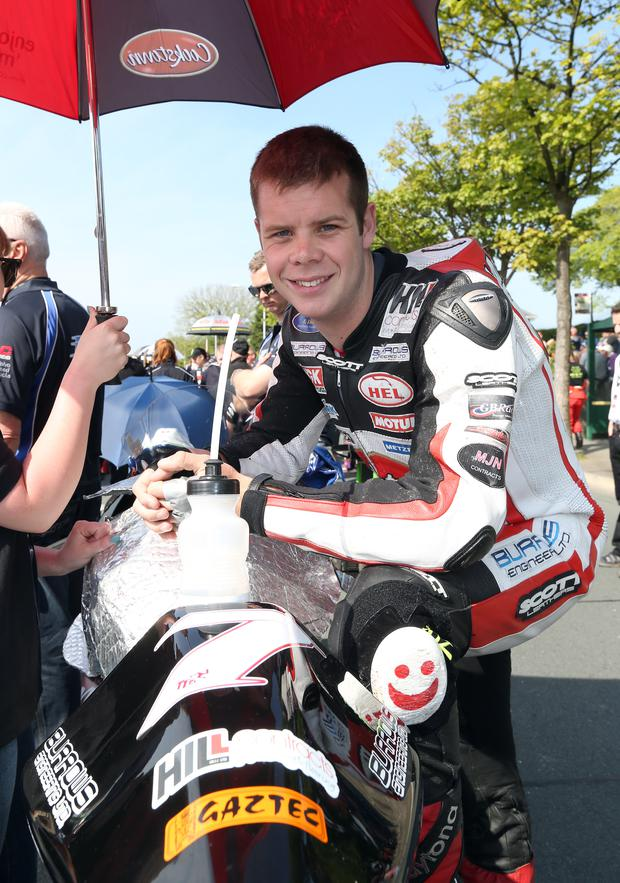 Long recovery: Jamie Hamilton is still under critical care in hospital after his horror crash at the Isle of Man TT last week