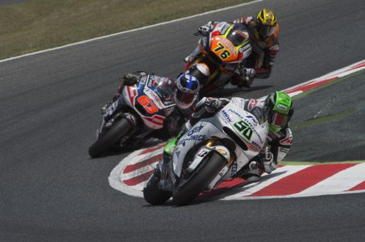 Out in front: Eugene Laverty leads at Catalunya but his podium chances have been limited