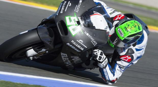 Testing time: Eugene Laverty on board the Aspar Ducati at his first ride in Valencia