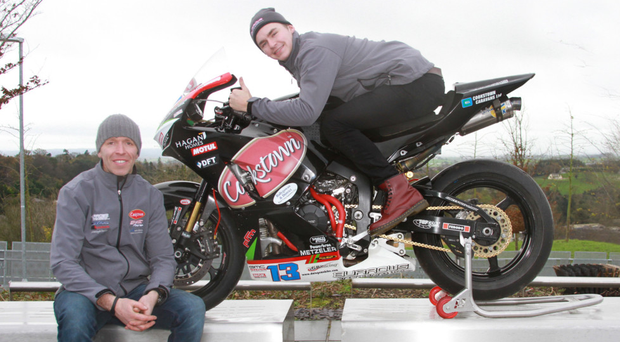 On board: John Burrows and his Cookstown BE Racing team's new signing Malachi Mitchell-Thomas