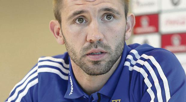 Standing firm: Gareth McAuley and the Northern Ireland backline will need to produce a resilient performance