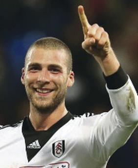 LONDON, ENGLAND - OCTOBER 21: Pajtim Kasami lof Fulham acknowledges the travelling fans following their team's 4-1 victory during the Barclays Premier League match between Crystal Palace and Fulham at Selhurst Park on October 21, 2013 in London, England. (Photo by Julian Finney/Getty Images)