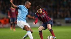 Star turn: Barca dangerman Lionel Messi has the talent to tie Vincent Kompany and co up in knots