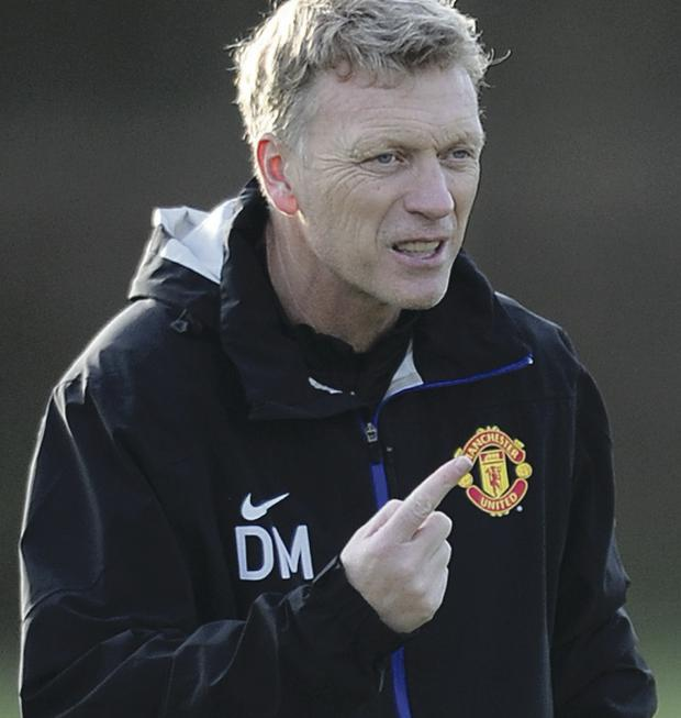 Pointing the way: David Moyes' boys should cruise into the Champions League quarter-finals