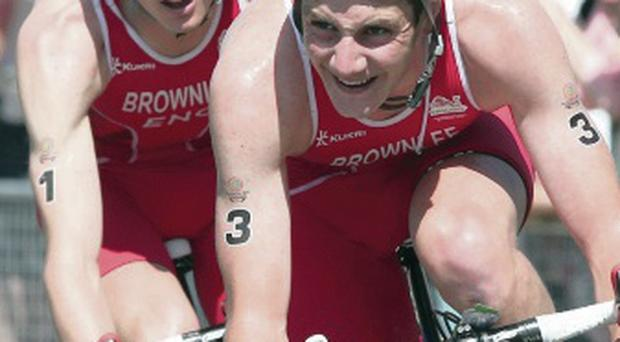 En route: Alistair (right) beats Jonathan Brownlee to gold