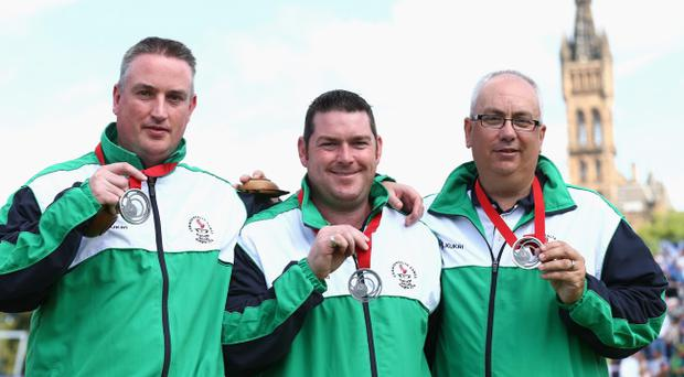 Paul Daly, Neil Mulholland (centre) and Neil Booth won a silver medal at the Commonwealth Games