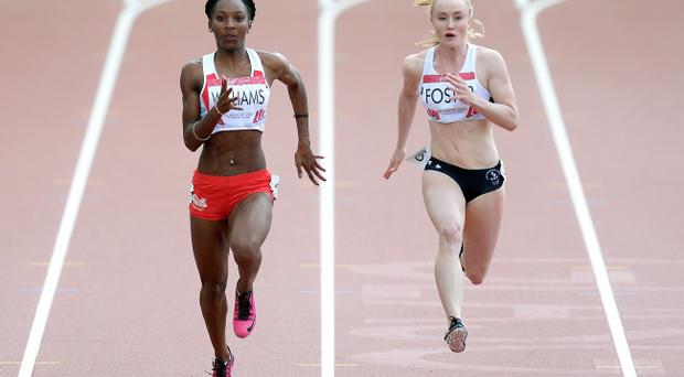 Giant strides: Amy Foster (right) was delighted with her performance in the 100m semis