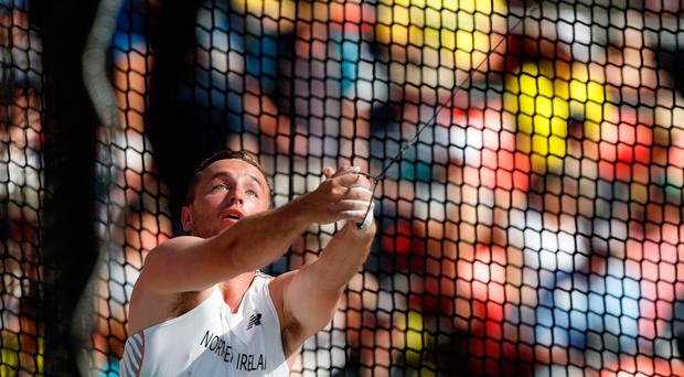 Best shot: Dempsey McGuigan in action in the hammer event on the Gold Coast yesterday