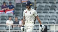 Ben Stokes is dismissed (Themba Hadebe/AP)