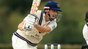 Middlesex's John Simpson batting during day two of the Bob Willis Trophy match against Sussex at Radlett Cricket Club (Adam Davy/PA)