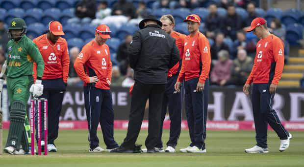 Play stops after a pitch box pops up during the Vitality IT20 match between England and Pakistan at Cardiff (PA)