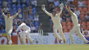 Ben Stokes, left, starred for England (Eranga Jayawardena/AP)
