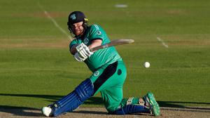Big hitter: Paul Stirling celebrated a century en route to Ireland's stunning seven-wicket victory over world champions England