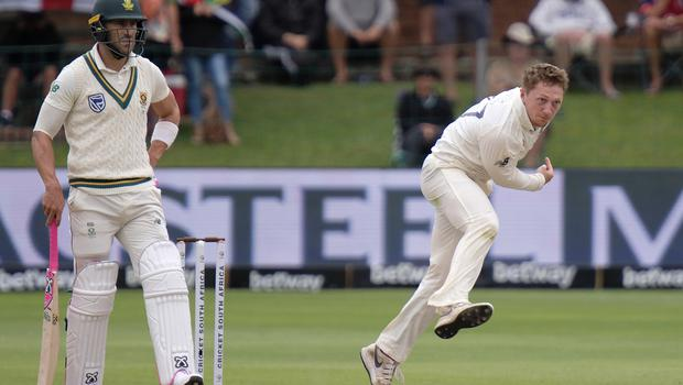 England's Dom Bess bowls during day four (Michael Sheehan/AP)
