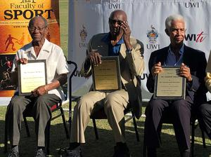 Sir Everton Weekes, Sir Wes Hall and Sir Garfield Sobers are honoured as 'immortals' during a presentation at the 3Ws Oval at Cave Hill, Barbados (Rory Dollard/PA)