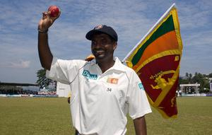 Muttiah Muralitharan reached 500 Test wickets in a series between Sri Lanka and Australia in 2004 (Gareth Copley/PA)