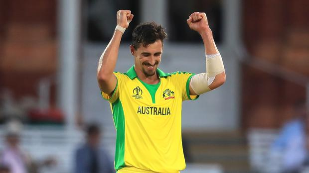 Australia's Mitchell Starc celebrates the final wicket against New Zealand (Mike Egerton/PA)