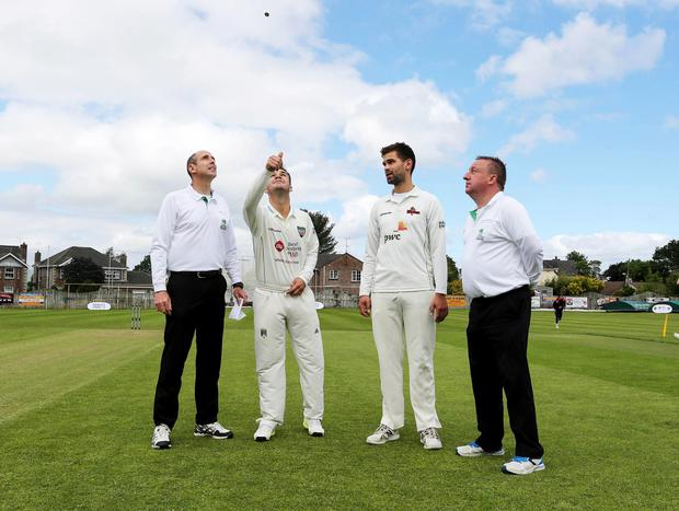 First class: Andy McBrine and James Shannon with umpires at Eglinton in 2017